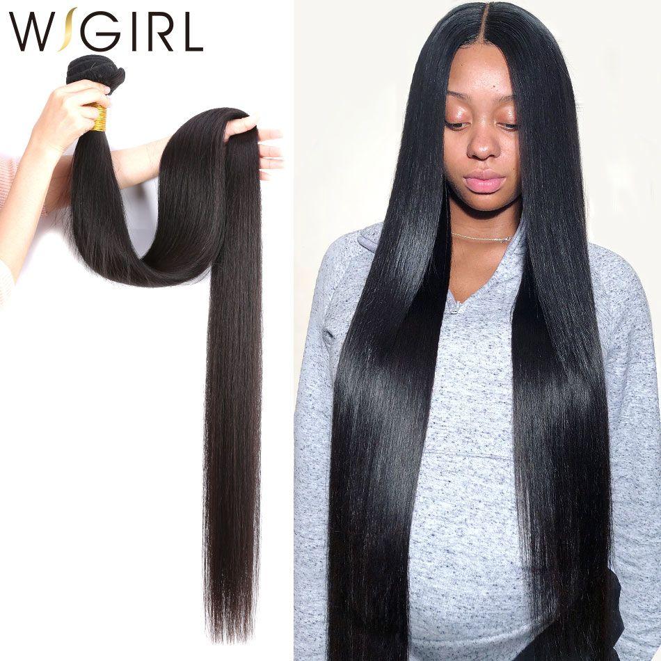 Wigirl droite 8- 28 30 32 40 pouces remy brésiliens cheveux Weave Bundles 100% naturels humains Cheveux 1 3 4 Bundles offres tissage T191102