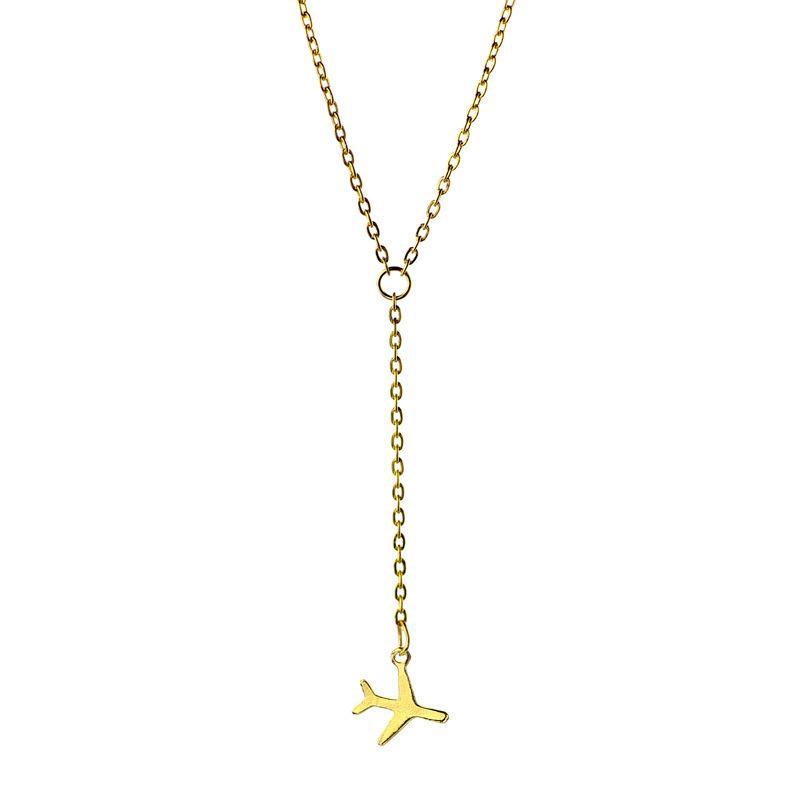 Europeus e Americanos venda quente de jóias, simples colar de pingente de colar pequena aeronave criativa ouro