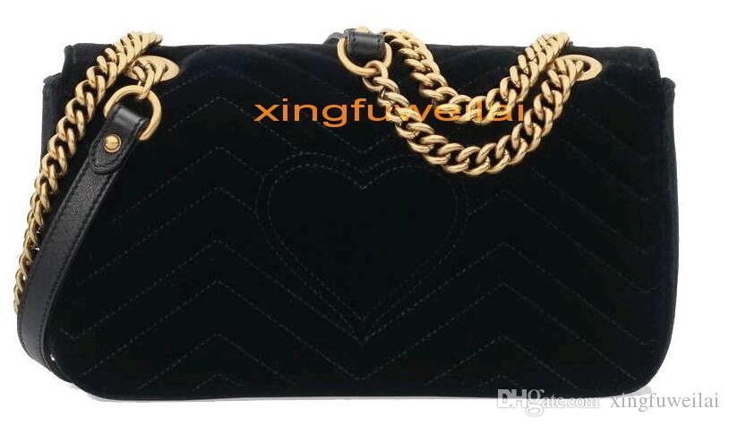 Moda Mujeres Bolsos de hombro Cadena de oro clásico Bolsa de terciopelo estilo corazón bolso bolso bolsas bolsas Messenger Bolsos de la mejor calidad