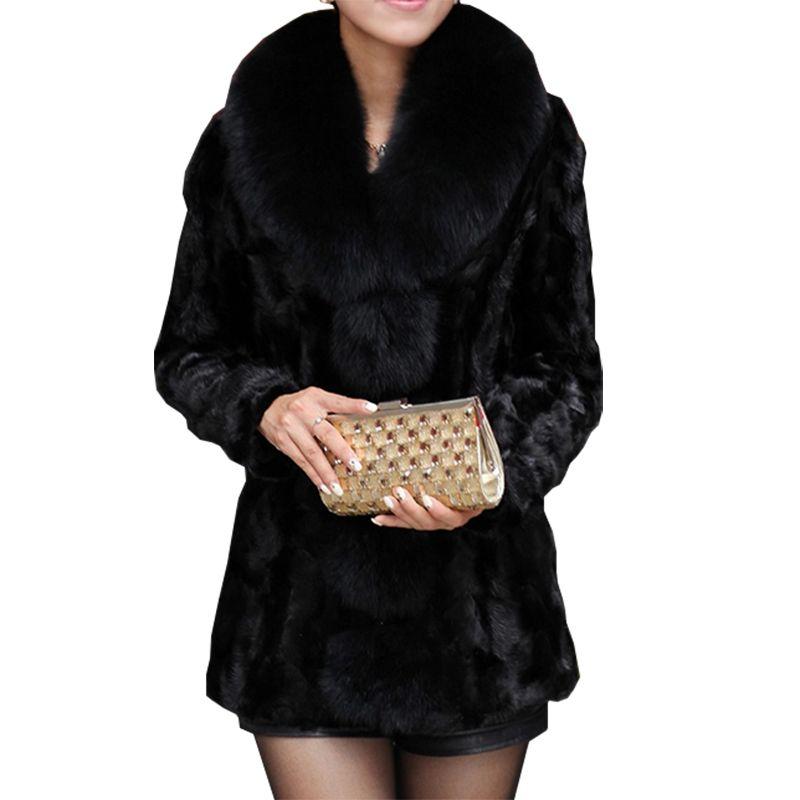 2019 New Luxury donne del cappotto di inverno del parka caldo a lungo Faux colletto di pelliccia del cappotto del soprabito di fascia alta del rivestimento delle donne più il formato S-6XL