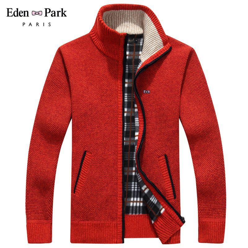 2020 chaqueta de invierno de los hombres Soft Shell Fleece caliente hombres rojos de la cremallera rompevientos Negro Eden Park más el tamaño M ~ 3XL abrigos Hombre T200502
