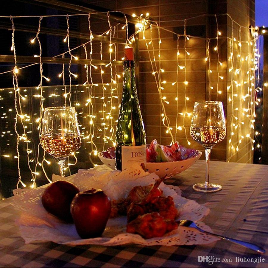 16M de Navidad x 0,8 M 512 Led 24V cortina de la ventana del carámbano luces de cadena para el partido de jardín de la boda al aire libre Dormitorio decoración de la pared interior