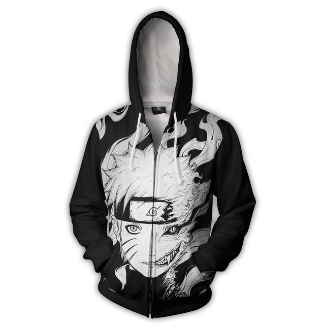 Japanese anime NARUTO Hoodies Zipper Clothing hooded sweatshirt Unisex Adult casual Clothing hoodie Coat Jacket Tops Coats cosplay
