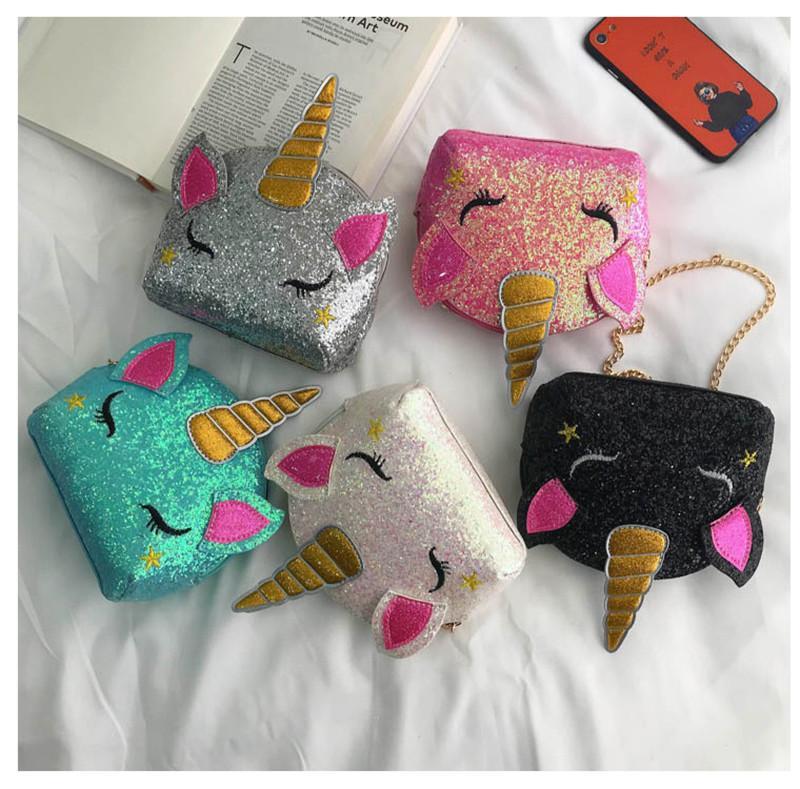 Brillo unicornio chicas bolsas de hombro dibujos animados cruzbody b71701 bolsas insers bolsas bolsas para niños bolsa de cintura linda cadena monedero monedero fanny ki ukbw