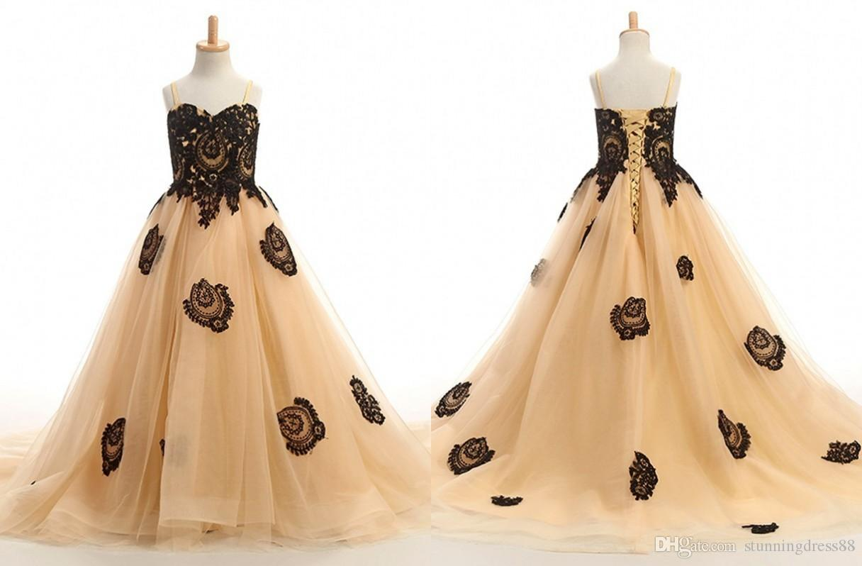 Sexy Champagne and Black Applique 2020 Flower Girls Dresses with Straps Tulle Corset Back First Communion Pageant Dress for Girls Toddler