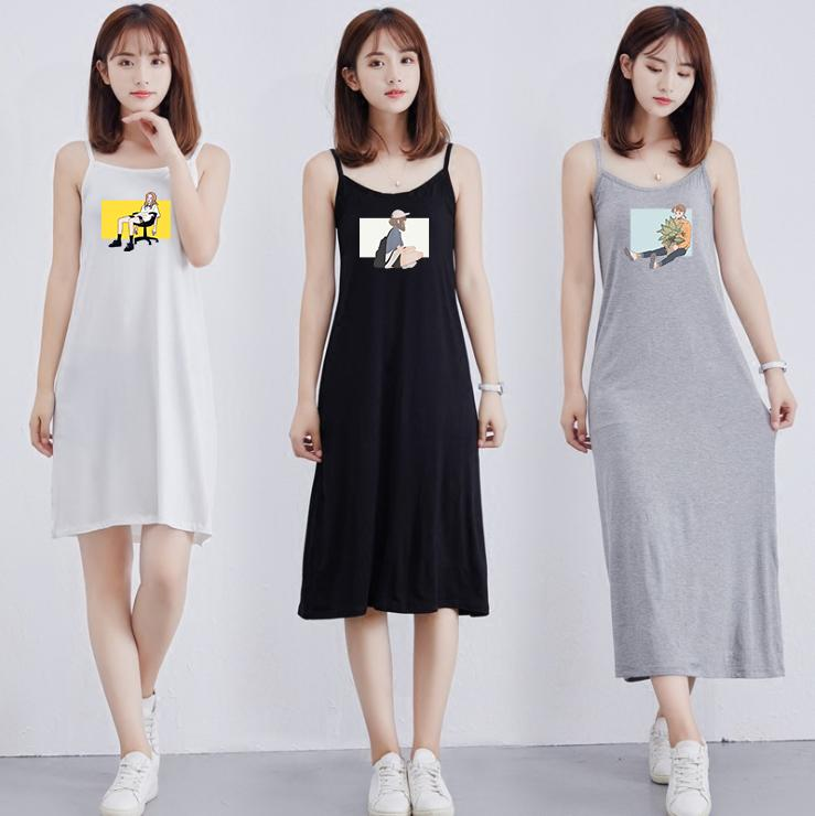 Trendy Kadın Elbise 2020 Yaz Yeni Nefes Günlük Yarı uzun Etek Moda Karikatür Karakter Baskılı Desenli Seksi Suspender Elbise-2