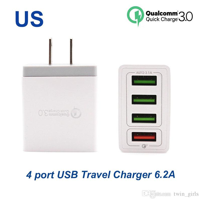 Quick charger3.0 Fast charger 4 Ports travel charger 6.2A USB Charger For Samsung Galaxy S8 Xiaomi 5 For iPhone Adapter EU/US Plug