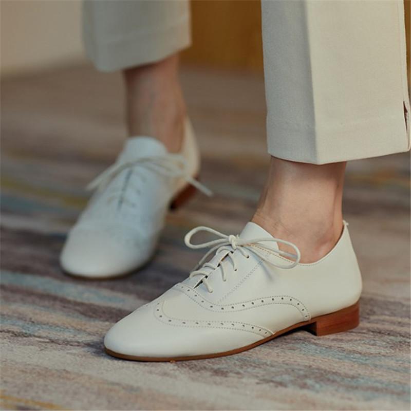 PXELENA Retro britânico Asa de ponta Natural Genuine couro Salto Oxfords Mulheres Low Lace Up Derby Shoes 2020 Outono Nova trabalho diário 40