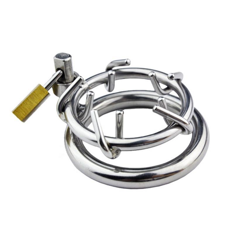 Chastity CaptionsStainless aço masculino castidade dispositivo Cock Ring Spikes parafuso de bloqueio Penis Bloqueio gaiola com bloqueio virgindade Bloqueio