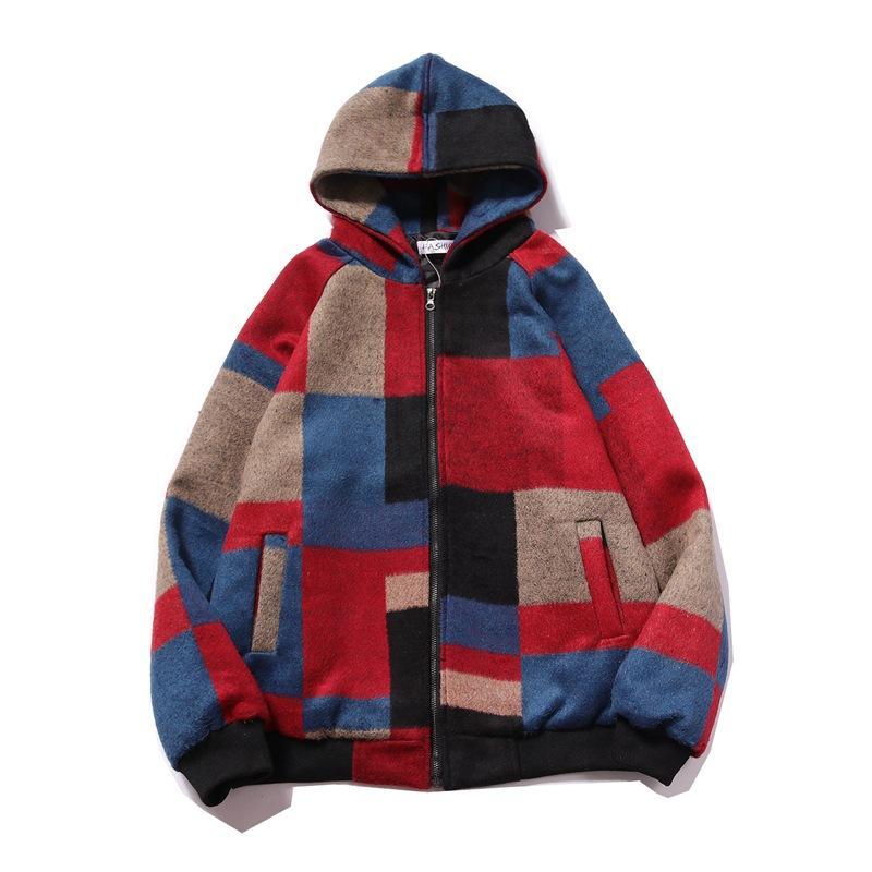 VS Erkek'S Giyim   2019 Sonbahar Ve Kış Yün Karışık Renkler Ceket Erkek Kapşonlu Ceket Ceket 7007