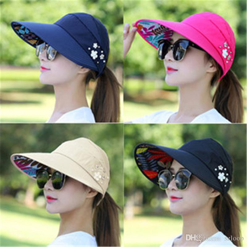 Fashion Sun Hats Sun Visor Hat Sun Hats for Women with Big Heads Beach Hat Summer UV Protection