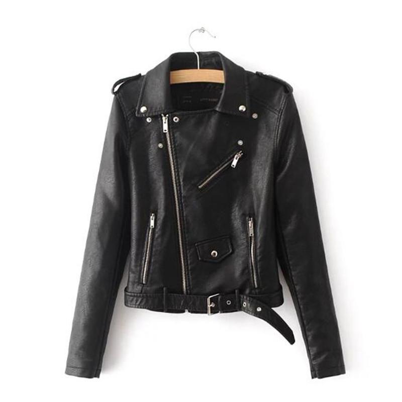 2019 여성 패션 밝은 색상 여성 블랙 오토바이 코트 짧은 가짜 가죽 바이커 자켓 소프트 자켓
