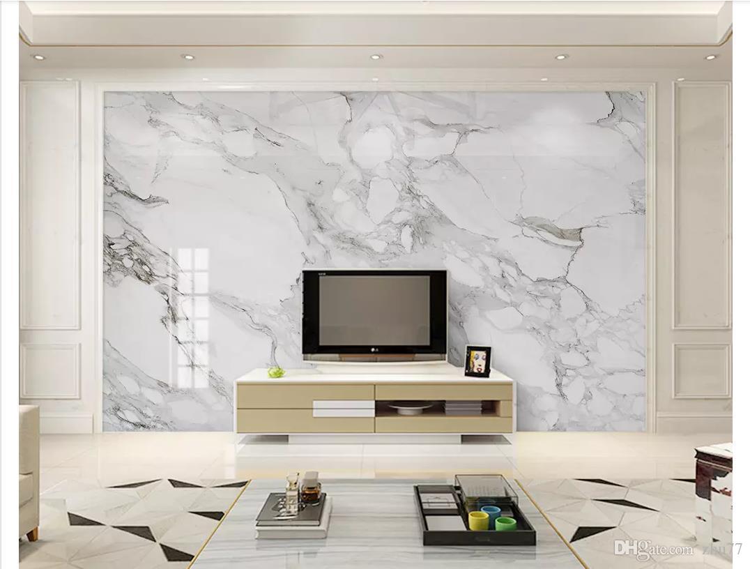 3D tapete benutzerdefinierte foto seide mural tapete dekoration HD Jazz Weiß Marmor Wohnzimmer TV Sofa Hintergrund Wand Papel de parede