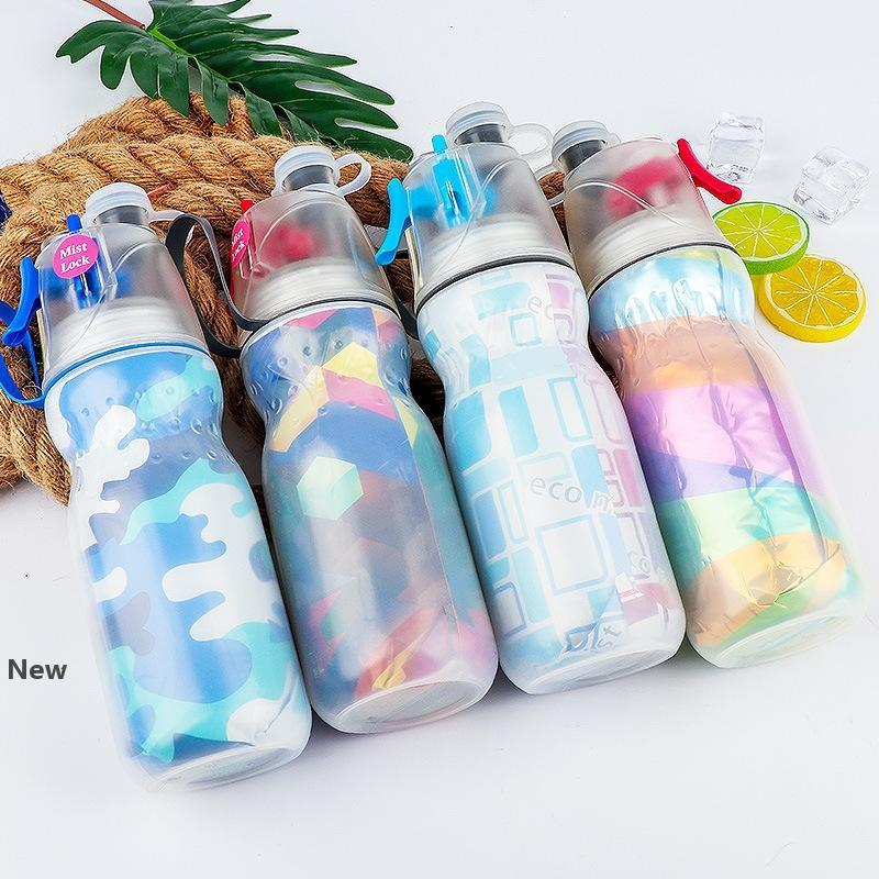 470ml Portable Mist Spray Water Bottle kids Sports Summer Cooling Outdoor Travel Fitness Hiking camping Cycling plastic spray cup FFA2061