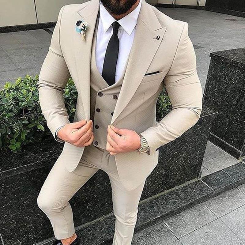 Beige Wedding Groom Tuxedos 2019 Three Piece Men Suits 2019 Peaked Lapel Trim Fit Blazer Tailor Made Latest Jacket Vest Coat Pants Design
