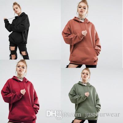 여성 뜨거운 고체 느슨한 후드 스포츠를 판매 여성 캐주얼 후드 스웨터 4 색 8 사이즈 의류