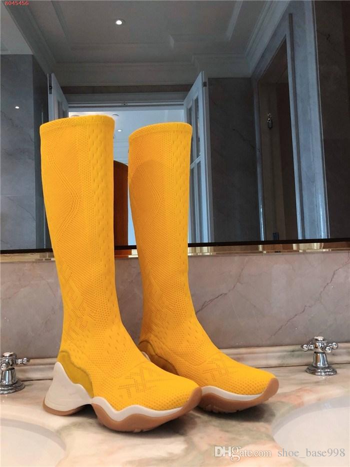 Signore calze e stivali a maglia classici, autunno / inverno delle donne spessa suola high-top con punta tonda calzini lavorati a maglia stivali, il formato 35-42