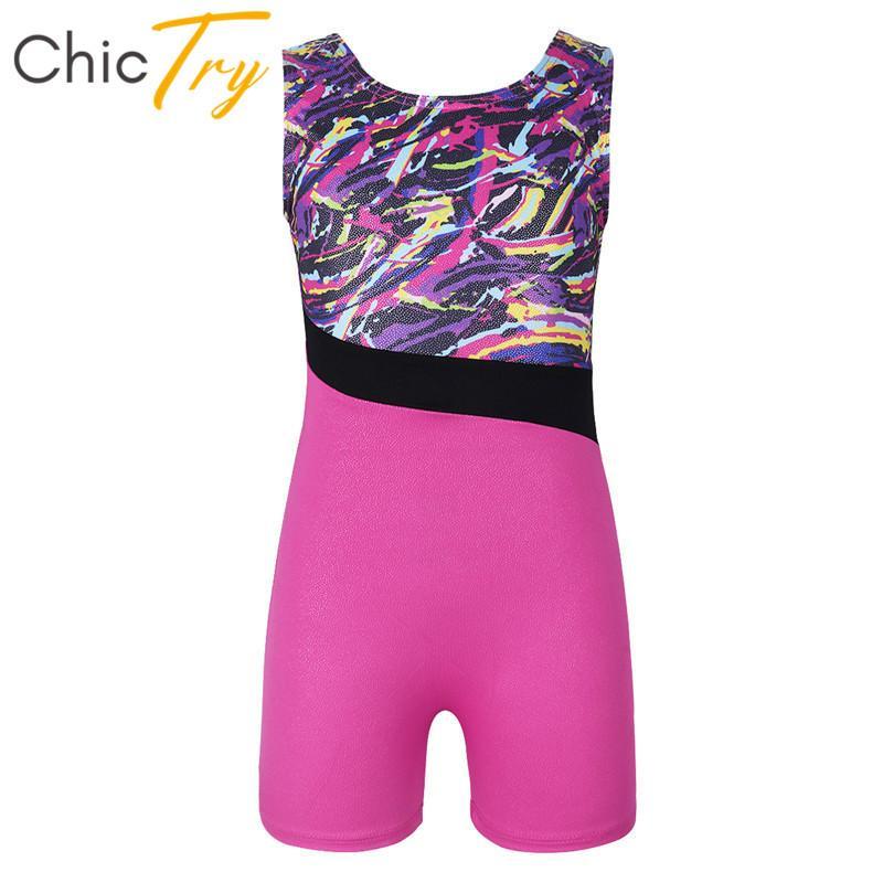 Étoile de scène Chictrier enfants Glitter Splice Ballet Ballet Jusqu'ici Girls Professionnel Gymnastique Sports Body Costume de danse pour enfants