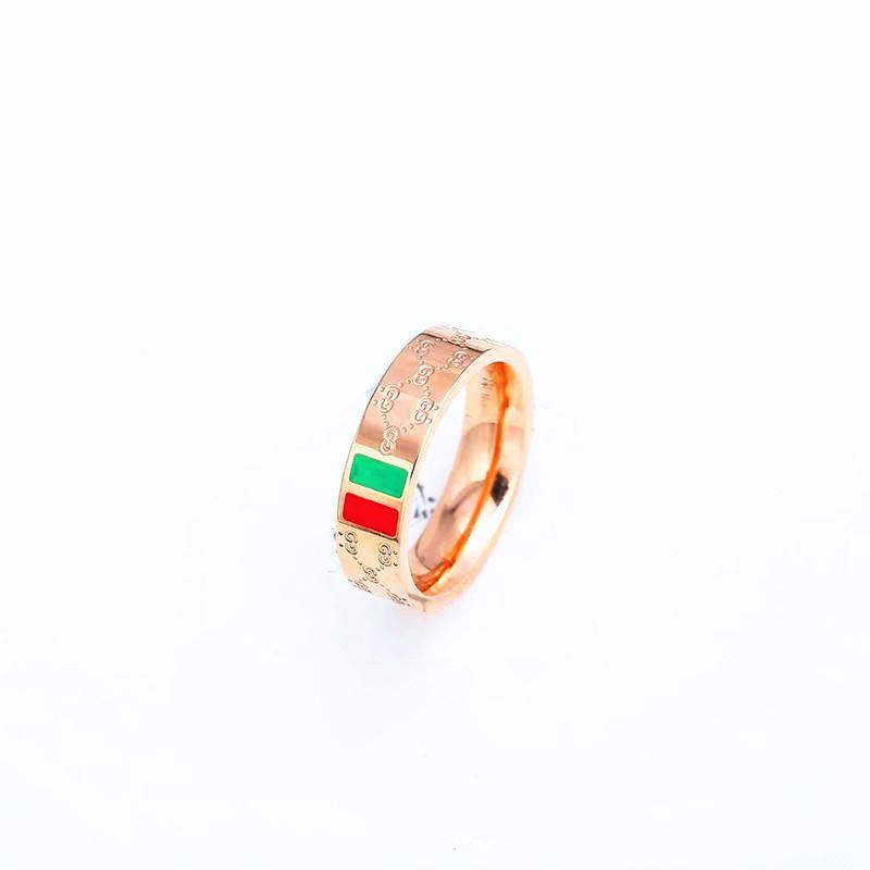 Nuovo 18 k oro rosa versione Coreana del modello semplice wedding bands gioielli di moda femminile in acciaio al titanio smalto coppia anello all'ingrosso