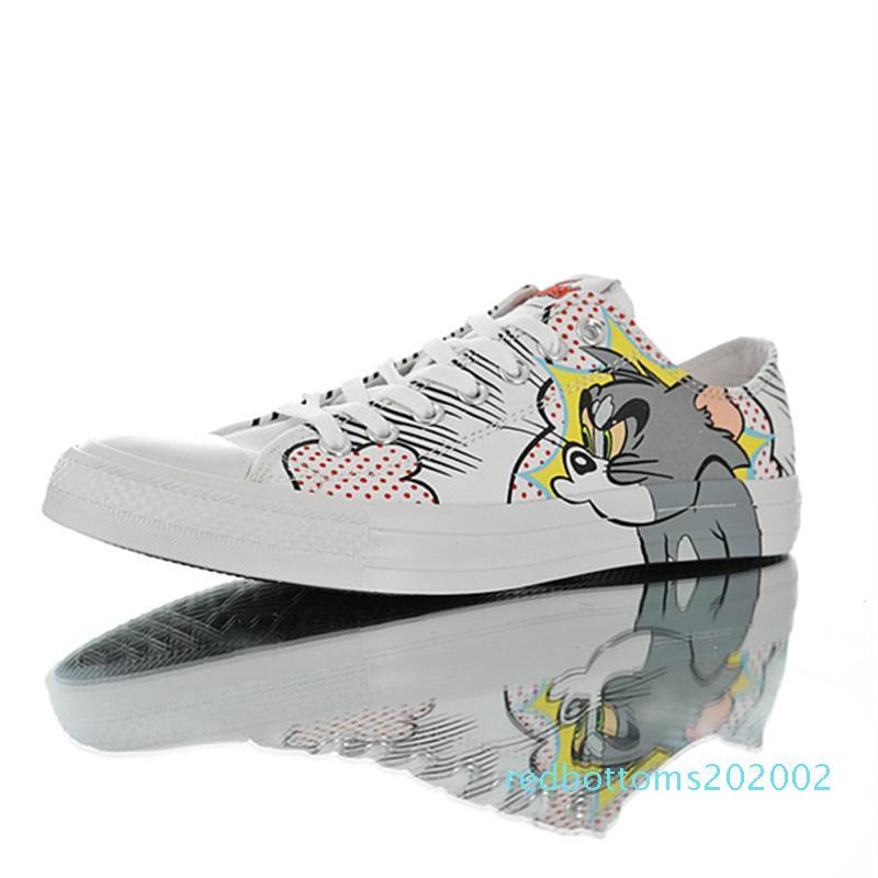 Alta calidad Tom Jerry X Chuck Hombres Mujeres Casual monopatín de la estrella Tamaño de los zapatos 35-44 r02