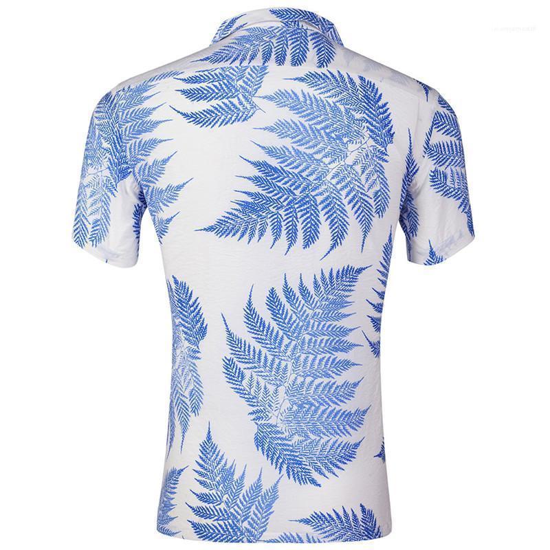 Hawaii-Revers-Ausschnitt Männer Shirts Blatt gedruckte kurze Hülsen-lose Herren Urlaub Tops Sommer