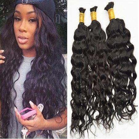 Bulk de cabelo da onda de água 9A Bulk de cabelo humano não processado para trança 16-28inch cor natural