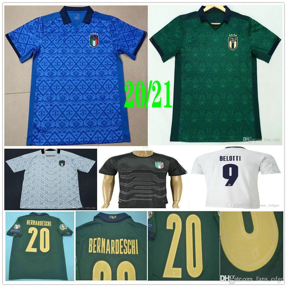 2020 2021 إيطاليا لكرة القدم الفانيلة إيطاليا BELOTTI VERRATTI جورجينيو INSIGNE BERNARDESCHI مخصص الرجل المرأة الاطفال الرئيسية بعيدا قميص كرة القدم الثالث