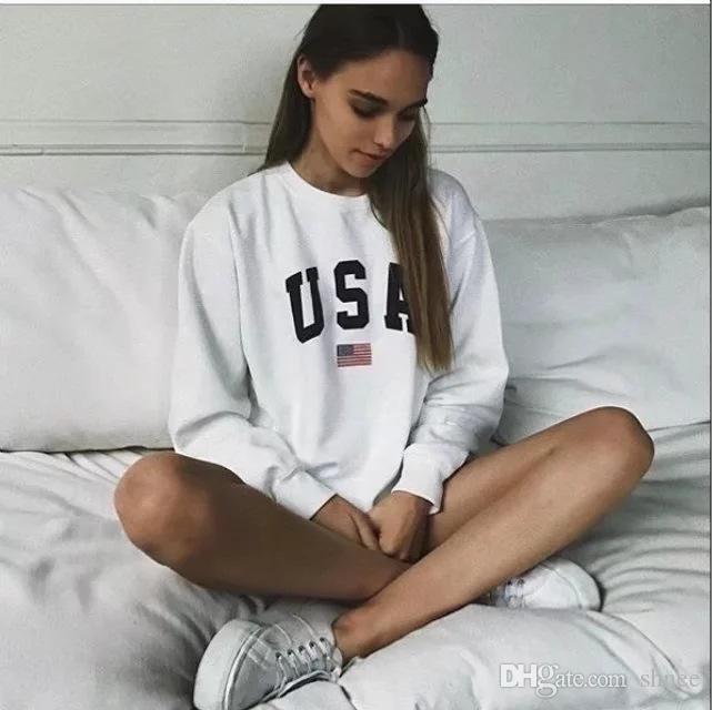 ABD Mektubu baskı Yeni kadın moda Uzun Kollu Hoodie Kazak Harajuku Jumper Kapşonlu Kazak Casual Gevşek Beyaz Ceket Tops