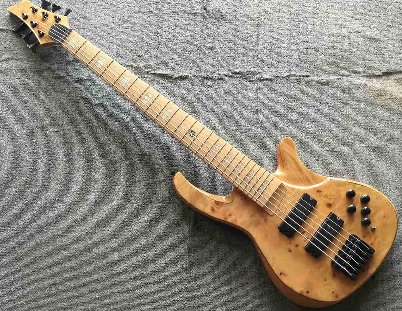 Custom Classical 6 string electric bass ELM high power pickup maple fingerboard elm wood back side free shipping
