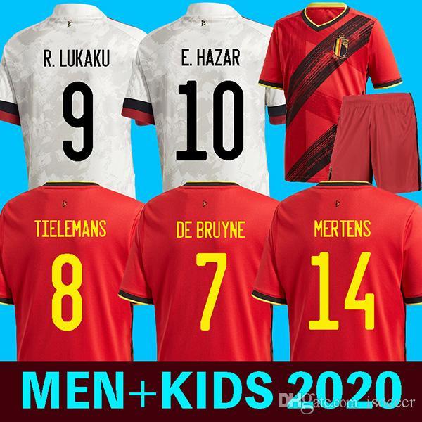 2020 بلجيكا لكرة القدم بعيدا البلوزات دي Bruyne LUKAKU 2020 يورو قميص كأس كرة القدم أخطار BATSHUAYI Camiseta فوتبول كومباني ديمبيلي مايوه