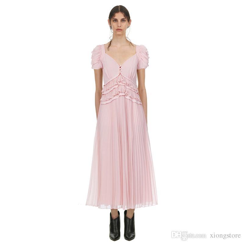 New Fashion Puff Sleeve V-Neck Chiffon Long Dress 2019 Summer Women Sexy Beach Fold Ruffle Pink Split Pleated Party Dresses