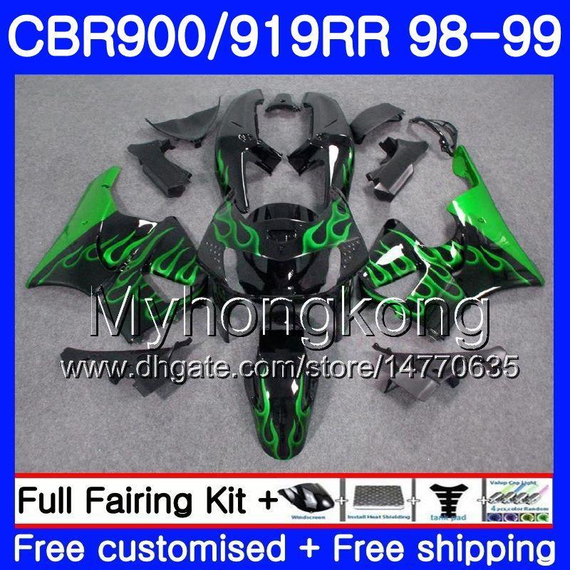 바디 용 혼다 CBR 900RR CBR 919RR CBR900 RR CBR919RR 98 99 278HM.0 CBR900RR CBR 919 RR CBR919 RR 1998 1999 페어링 키트 그린 불길 블랙