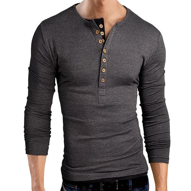 Горячая продажа мода весна Slim Fit Мужские T- рубашки с длинным рукавом тройники человека Кнопка Воротник V-образный вырез футболки хлопок высокого качества