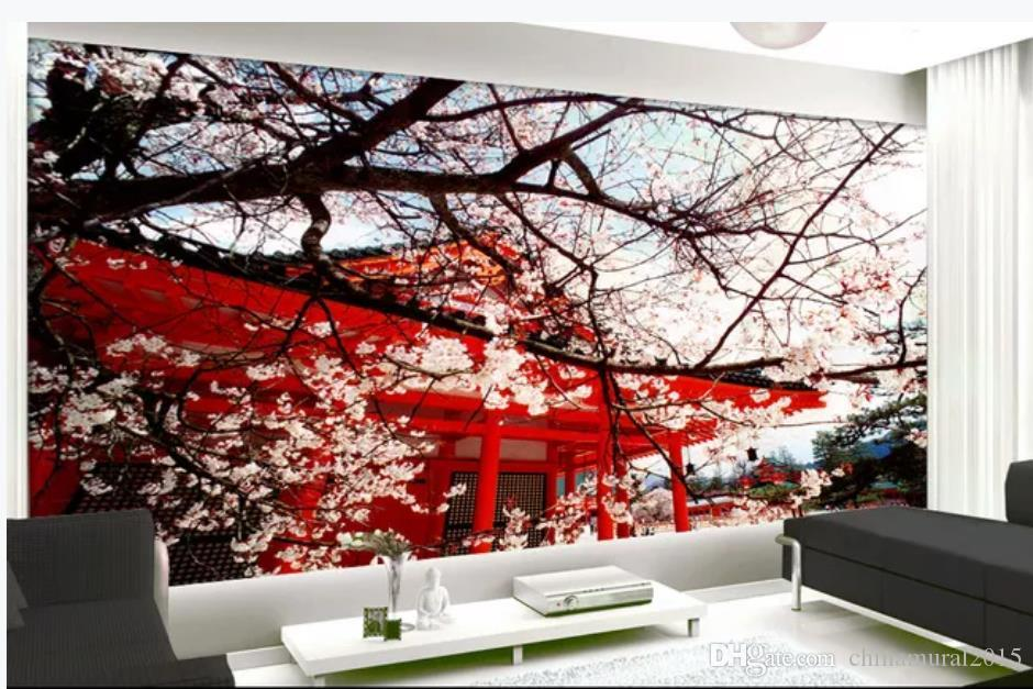 modern living room wallpapers Japanese style garden cherry blossom tree beautiful landscape background wall