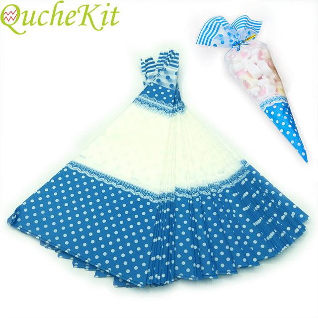 Gift & Wrapping Supplies 50pcs Blue Dots Cellophane Bags Clear Plastic Candy Gift Bag Triangular Cone-Shaped Treat Popcorn Sugar Bags With