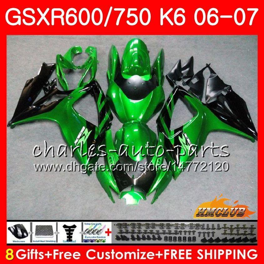Corpo per Suzuki GSX R600 GSX-R750 GSXR-600 GSXR600 06-07 8HC.76 GSX R750 GSXR 600 750 06 07 K6 GSXR750 2006 2007 Green Black Hot Carening Kit