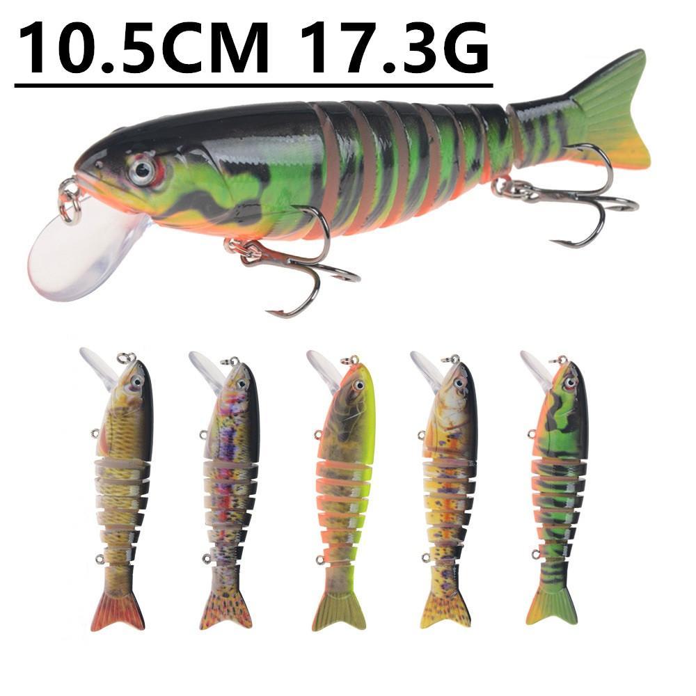 1 unids 5 color 10.5 cm 17.3G multi-sección Pesca Ganchos Anzuelos 4 # gancho plástico duro cebos  señuelos pesca Pesca tackle Accesorios v-8