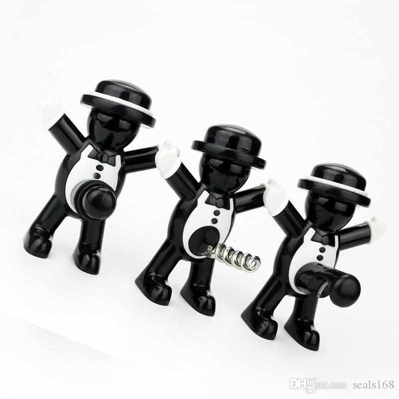 Openers Originality Metal Red Wine Bottle Stopper Small People Shape Beer Opener Black Gentleman Seal Up Tool Red Wine Opener DHL HH9-2659
