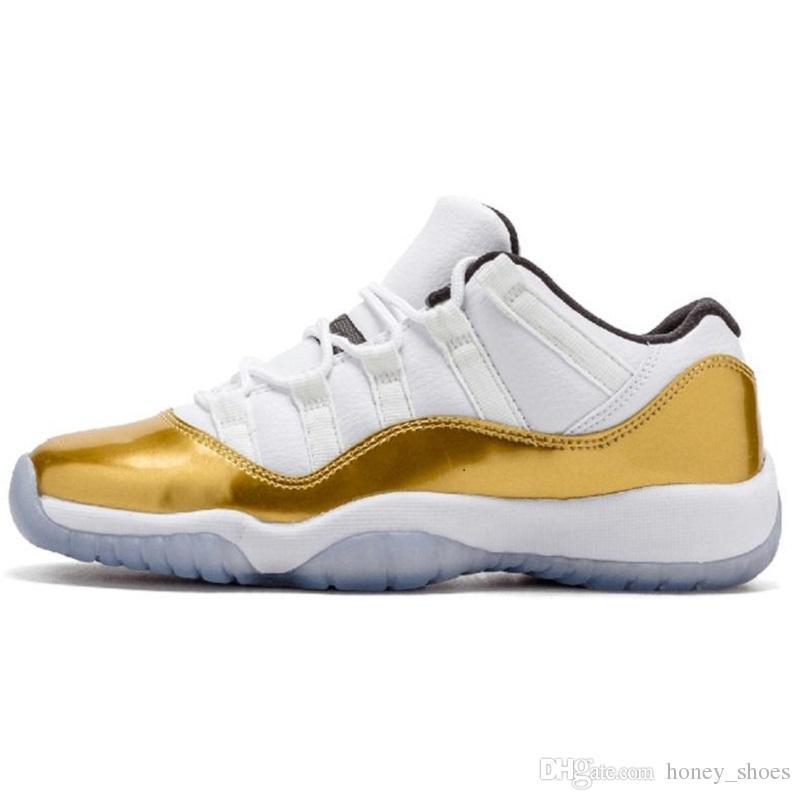 Großhandel Nike Air Jordan 1 4 6 11 12 13 2018 11 Männer Basketballschuhe 2017 Concord 11s Sport Sneaker Niedrig Metallic Gold Marineblau Weiß Rot