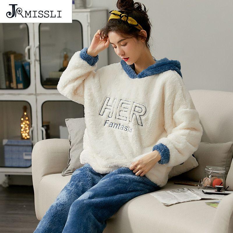 JRMISSLI Женщины пижама пижама Костюма Толстая Теплое Симпатичное Sleepingwear Кораллового флис пижама Кружево с капюшоном Lady фланели Homewear