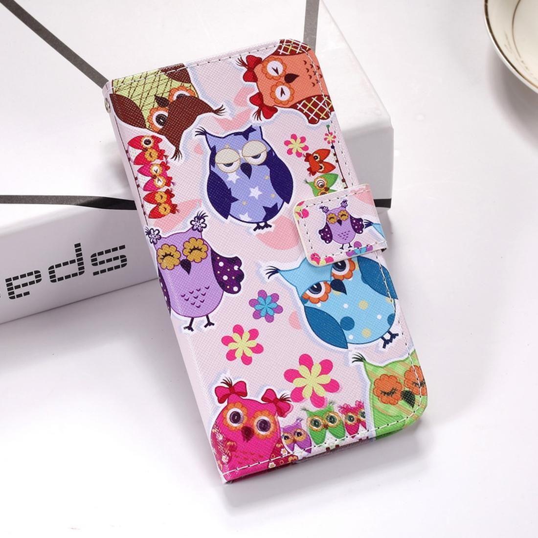 Huawei için Renkli Baykuş Desen Renkli Çizim Yatay çevir Kılıf Tutucu Kart Yuvaları Cüzdan Lanyard ile, 20 X Mate