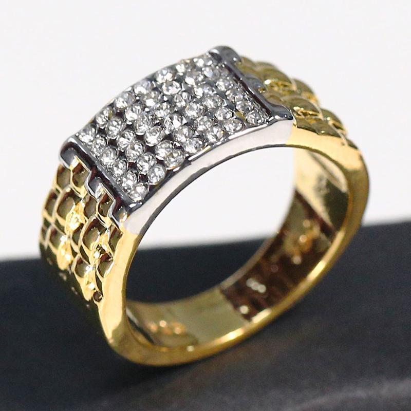 2020 Hot Venda Moda Boutique Dourada CZ anel de casamento anel de noivado Set, Homens e Mulheres Anel Jóias, Casamento