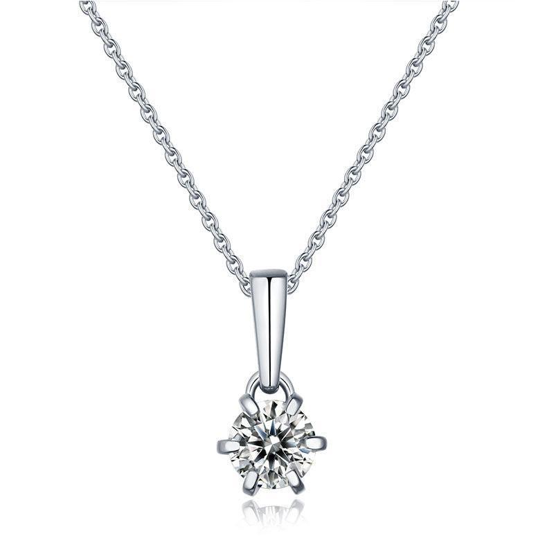 Einfache und elegante 1 CT Moissanite Anhänger neckace Spaking Hochzeit Schmuck Top-Qualität 925 Sterling Silber Anhänger Mädchen Geschenk