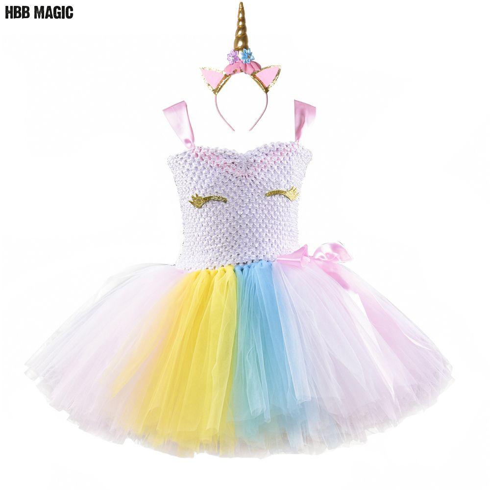 Ladies RAINBOW MAGICAL UNICORN Halloween Fancy Dress Tutu Girls Costume Skirt UK