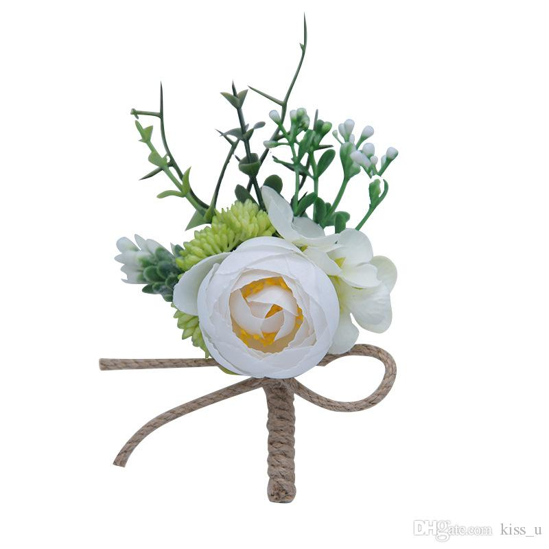 2019 Roses Artificielles Blanc Rose Mariage Corsages et Boutonnière Marié Fleur Corsage Mariage Prom Broche Broches