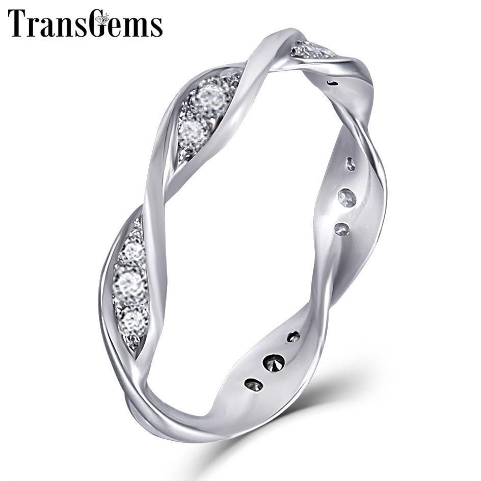 Transgems Solid Gold Spiralring 14k 585 Weißgold Moissanite Diamant Ehering für Frauen Geschenk Ewigkeit Ehering Y19061203