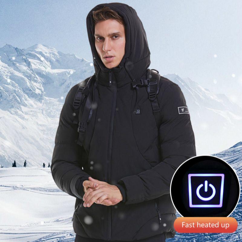 Jacket aquecida elétrica Mulheres Homens Inverno Jacket Men 2019 com capuz Casaco de Inverno Quente Brasão Casual Parka Masculino Winterjacke Herren