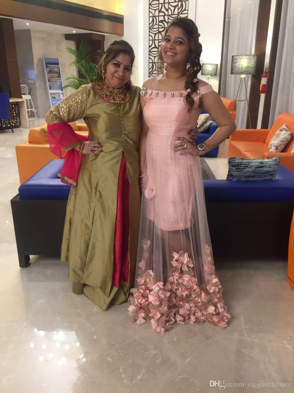 Arapça Elbise Modest Yeni Çiçekler Pembe Seksi Parti Gömme Gelinlik Modelleri Abiye Giyim Örgün Önlük Custom Made