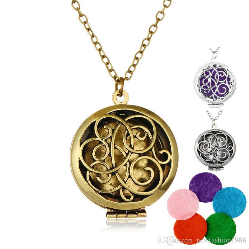 Aromatherapy Heart Necklaces Stainless Steel Essential Oil Diffuser Necklace Charms Locket Pendant Lucky Jewelry Women Girls Gift
