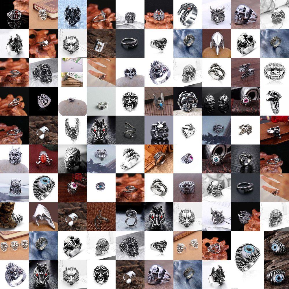 Mode Herren Edelstahl Silber Gothic Punk Charme Biker Finger Ring Geschenk